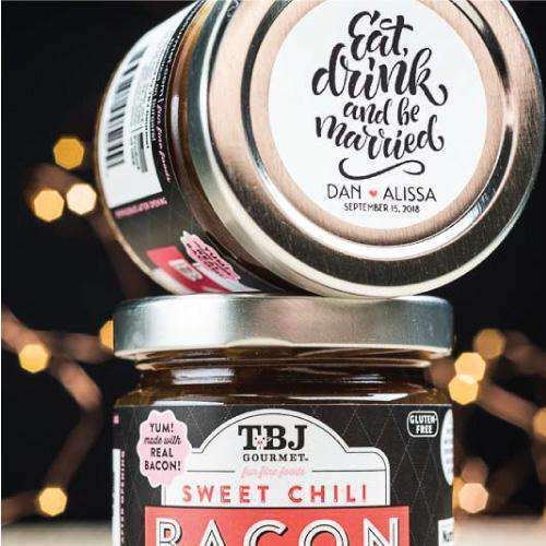 Personalized Bacon Jam Jars-Gourmet Wedding Gifts Personalized custom party favors and corporate event gifts