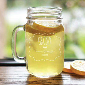Personalized Groomsmen Wedding Party Mason Jar Glass-Gourmet Wedding Gifts Personalized custom party favors and corporate event gifts