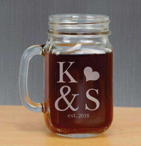 Personalized Mason Jar Glass with Initials and Heart