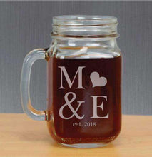 Load image into Gallery viewer, Personalized Mason Jar Glass with Initials and Heart-Gourmet Wedding Gifts Personalized custom party favors and corporate event gifts