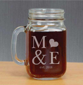 Personalized Mason Jar Glass with Initials and Heart-Gourmet Wedding Gifts Personalized custom party favors and corporate event gifts