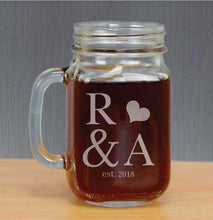 Load image into Gallery viewer, Personalized Mason Jar Glass with Initials and Heart