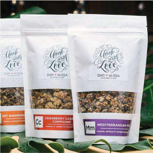 Large Personalized Granola Bag Favors-Gourmet Wedding Gifts Personalized custom party favors and corporate event gifts