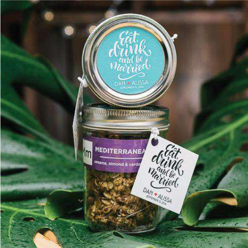 Personalized Small Granola Mason Jar Favors-Gourmet Wedding Gifts Personalized custom party favors and corporate event gifts