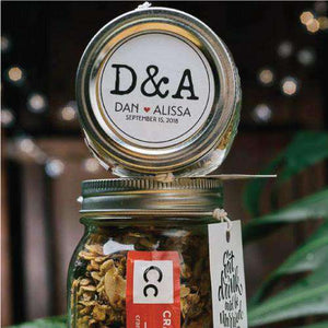 Personalized Large Granola Mason Jar Favors-Gourmet Wedding Gifts Personalized custom party favors and corporate event gifts