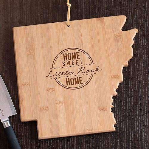 Personalized Arkansas Home State Wood Cutting Board