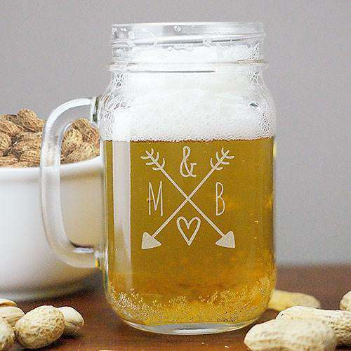 Personalized Mason Jar Glass with Arrows & Initials-Gourmet Wedding Gifts and Wedding Favors for guests
