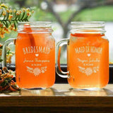 Personalized Boho Vibes Bridesmaids Bridal Party Mason Jar Glass Gourmet Wedding Gifts Personalized Gifts and Wedding Favors
