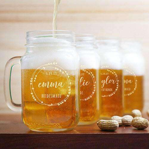Personalized Bridal Party Mason Jar Glass-Gourmet Wedding Gifts Personalized custom party favors and corporate event gifts
