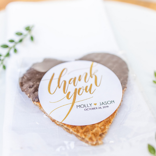 Personalized Chocolate Dipped Stroopwafel Hearts-Gourmet Wedding Gifts and Wedding Favors for guests
