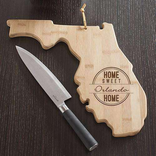 Personalized Florida Home State Wood Cutting Board