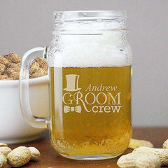 Personalized Groom Crew Mason Jar Glass-Mason Jars Gourmet Wedding Gifts and edible wedding favors