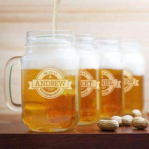 Personalized Groomsmen Badge Mason Jar Glass