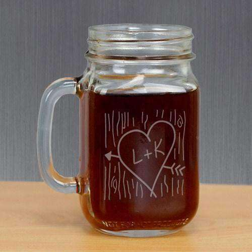 Personalized Heart & Arrow Bridal Party Mason Jar Glass Gourmet Wedding Gifts Personalized Gifts and Wedding Favors