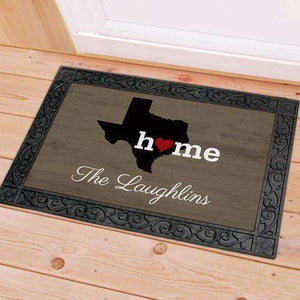 "Personalized ""Home"" Home State Doormat-Gourmet Wedding Gifts Personalized custom party favors and corporate event gifts"