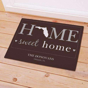 "Personalized ""Home Sweet Home"" Home State Doormat-Gourmet Wedding Gifts Personalized custom party favors and corporate event gifts"