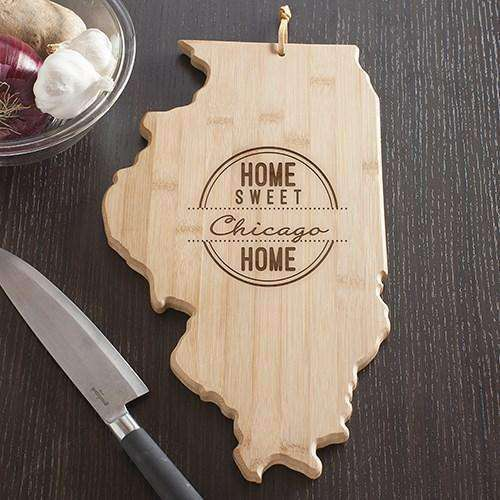 Personalized Illinois State Wood Cutting Board-Gourmet Wedding Gifts Personalized custom party favors and corporate event gifts