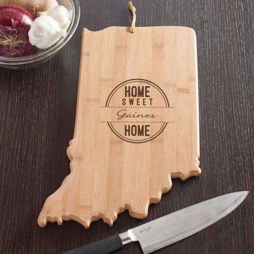 Personalized Indiana State Wood Cutting Board