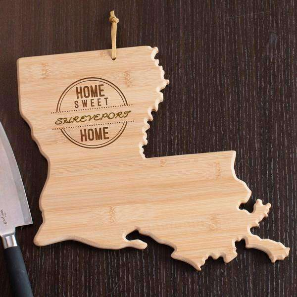 Personalized Louisiana State Wood Cutting Board