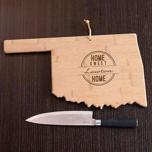 Personalized Oklahoma State Wood Cutting Board