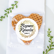 Load image into Gallery viewer, Unique Wedding Place Cards: Personalized Stroopwafel Cookies-Gourmet Wedding Gifts and Wedding Favors for guests