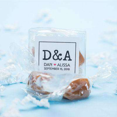 Personalized 2 Piece Caramel Gift Box Favors-Gourmet Wedding Gifts Personalized custom party favors and corporate event gifts