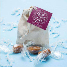 Load image into Gallery viewer, Personalized 3 Piece Caramel Muslin Gift Bag Favors-Gourmet Wedding Gifts Personalized custom party favors and corporate event gifts