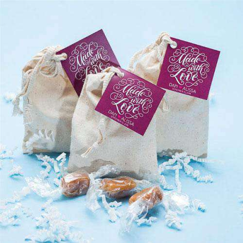 Personalized 3 Piece Caramel Muslin Gift Bag Favors-Gourmet Wedding Gifts Personalized custom party favors and corporate event gifts