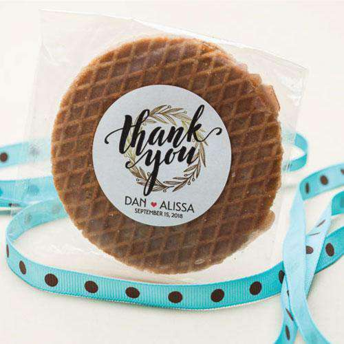 Personalized Round Stroopwafel Cookie Favors-Gourmet Wedding Gifts and Wedding Favors for guests