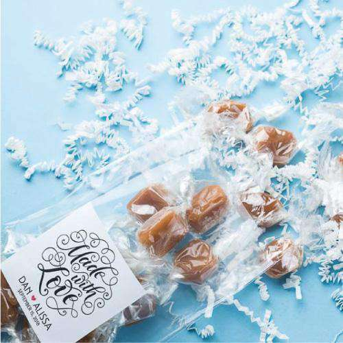 Personalized 12 Piece Caramel Favors-Gourmet Wedding Gifts Personalized custom party favors and corporate event gifts