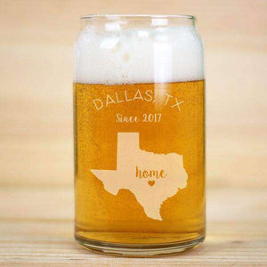 Personalized Home State Beer Can Glass with Heart-Gourmet Wedding Gifts Personalized custom party favors and corporate event gifts