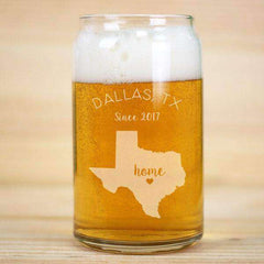 Personalized Heart Home State Beer Can Glass-Beer Glasses Gourmet Wedding Gifts and edible wedding favors