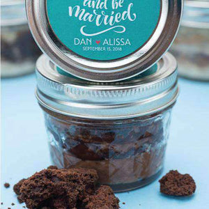 Personalized Cookie Cake Jar Favors - Triple Chocolate Sea Salt-Gourmet Wedding Gifts Personalized custom party favors and corporate event gifts