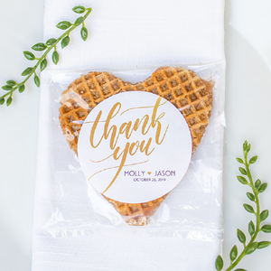 Personalized Classic Stroopwafel Heart Wedding Favors