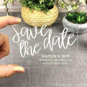 Personalized Clear Acrylic Modern Script Wedding Save the Dates-Gourmet Wedding Gifts Personalized custom party