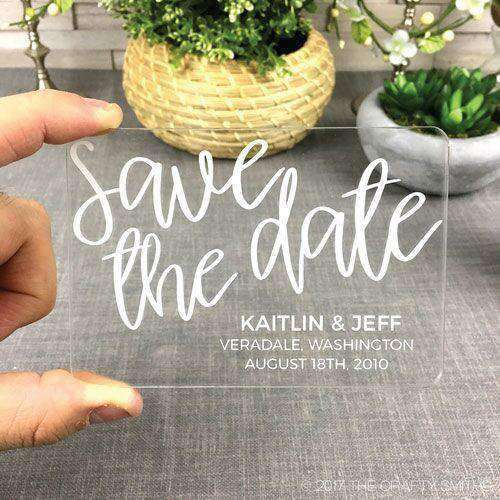 Personalized Clear Acrylic Modern Script Wedding Save the Dates-Gourmet Wedding Gifts Personalized custom party favors and corporate event gifts