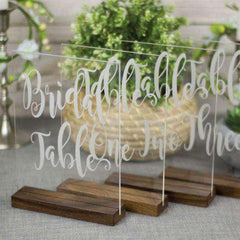Clear Acrylic Modern Script Table Numbers-Wedding Decor Gourmet Wedding Gifts and edible wedding favors