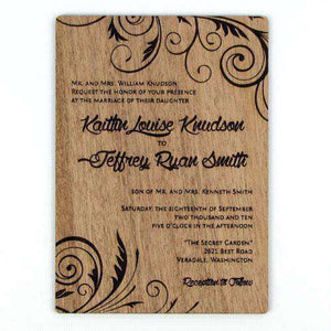 "Custom Solid Wood Wedding Invitations - ""Embellished Vines"" Design-Gourmet Wedding Gifts Personalized custom party favors and corporate event gifts"
