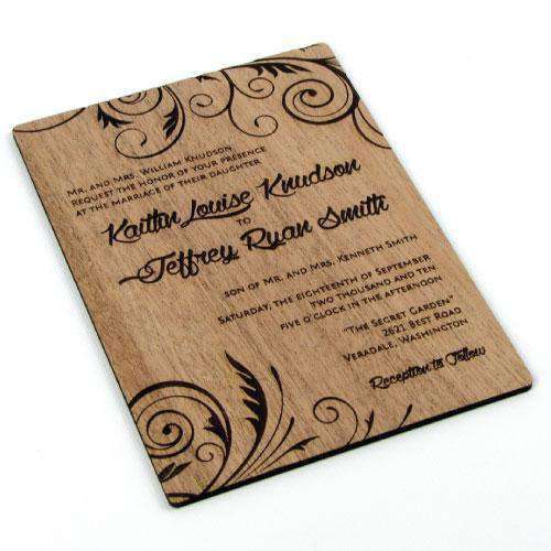 Custom Solid Wood Wedding Invitations -