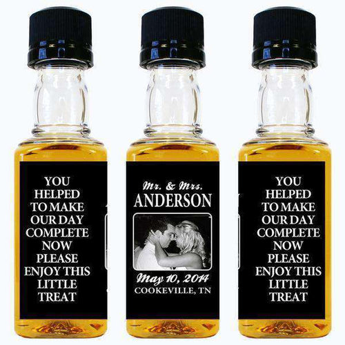 Personalized Wedding Mini Liquor Bottles - Enjoy This Little Treat Design-Gourmet Wedding Gifts and Wedding Favors for guests