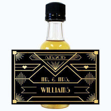 Load image into Gallery viewer, Personalized Wedding Mini Liquor Bottles - Gatsby Black and Gold Design