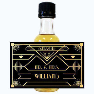 Personalized Wedding Mini Liquor Bottles - Gatsby Black and Gold Design
