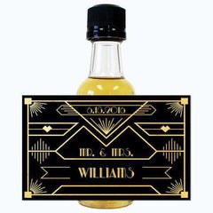 Wedding Mini Bottle Labels - Gatsby Black and Gold Design-Wedding Favors Gourmet Wedding Gifts and edible wedding favors