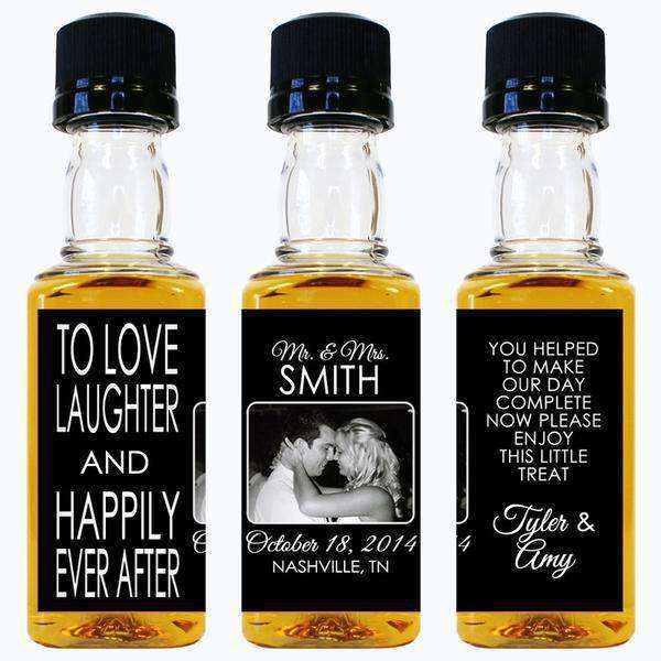 Personalized Wedding Mini Liquor Bottles - Happily Ever After Photo Design