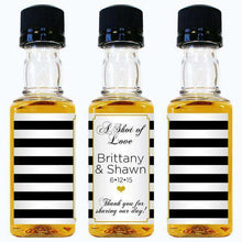 Load image into Gallery viewer, Personalized Wedding Mini Liquor Bottles - Shot of Love Design-Gourmet Wedding Gifts and Wedding Favors for guests