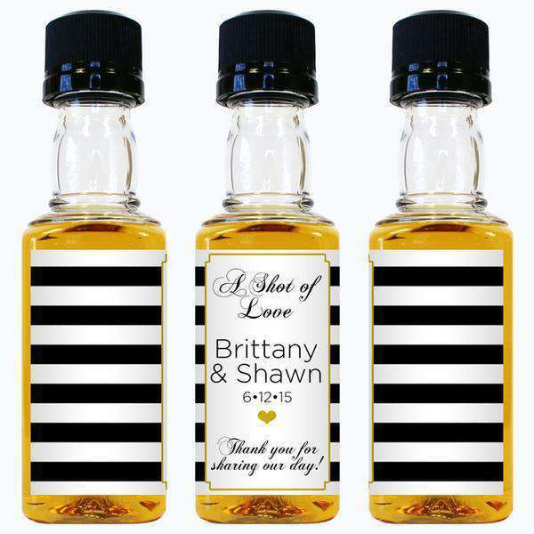 Personalized Wedding Mini Liquor Bottles - Shot of Love Design-Gourmet Wedding Gifts and Wedding Favors for guests