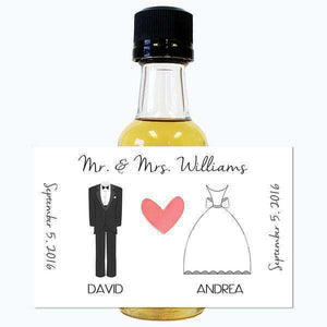 Personalized Wedding Mini Liquor Bottles - Tux and Wedding Dress Design-Gourmet Wedding Gifts and Wedding Favors for guests
