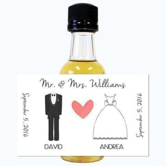 Wedding Mini Bottle Labels - Tux and Wedding Dress Design-Wedding Favors Gourmet Wedding Gifts and edible wedding favors