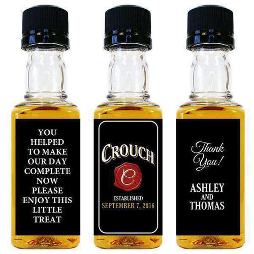 Personalized Wedding Mini Liquor Bottles - Wax Seal Design