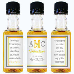 Wedding Mini Bottle Labels - Wedding Monogram Design-Wedding Favors Gourmet Wedding Gifts and edible wedding favors
